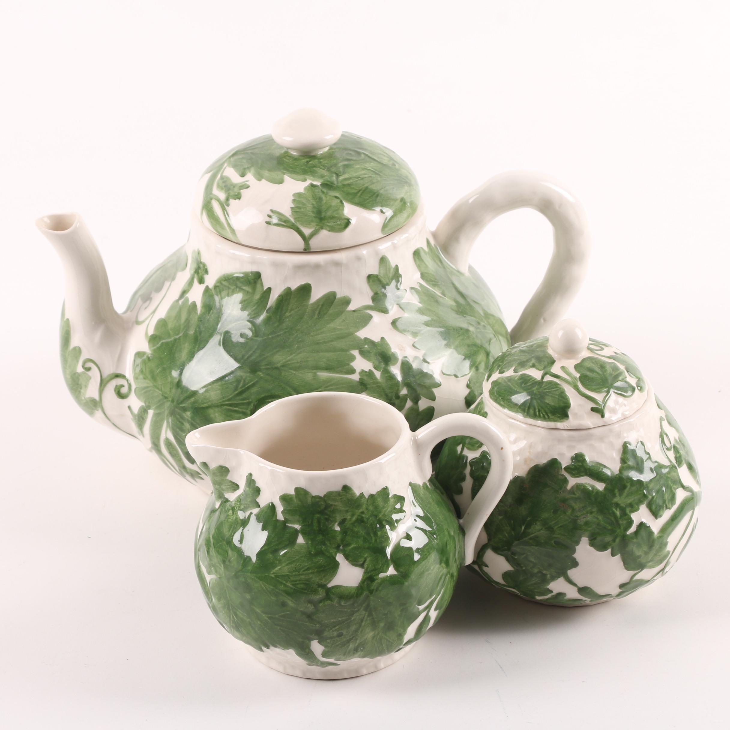 Portuguese Earthenware Tea Set featuring Bordallo Pinheiro