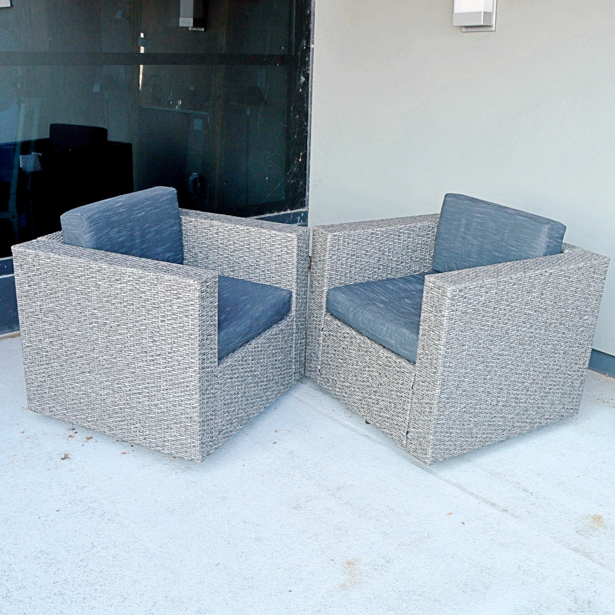 Pair of Outdoor Faux Wicker and Upholstered Armchairs by Christopher Knight
