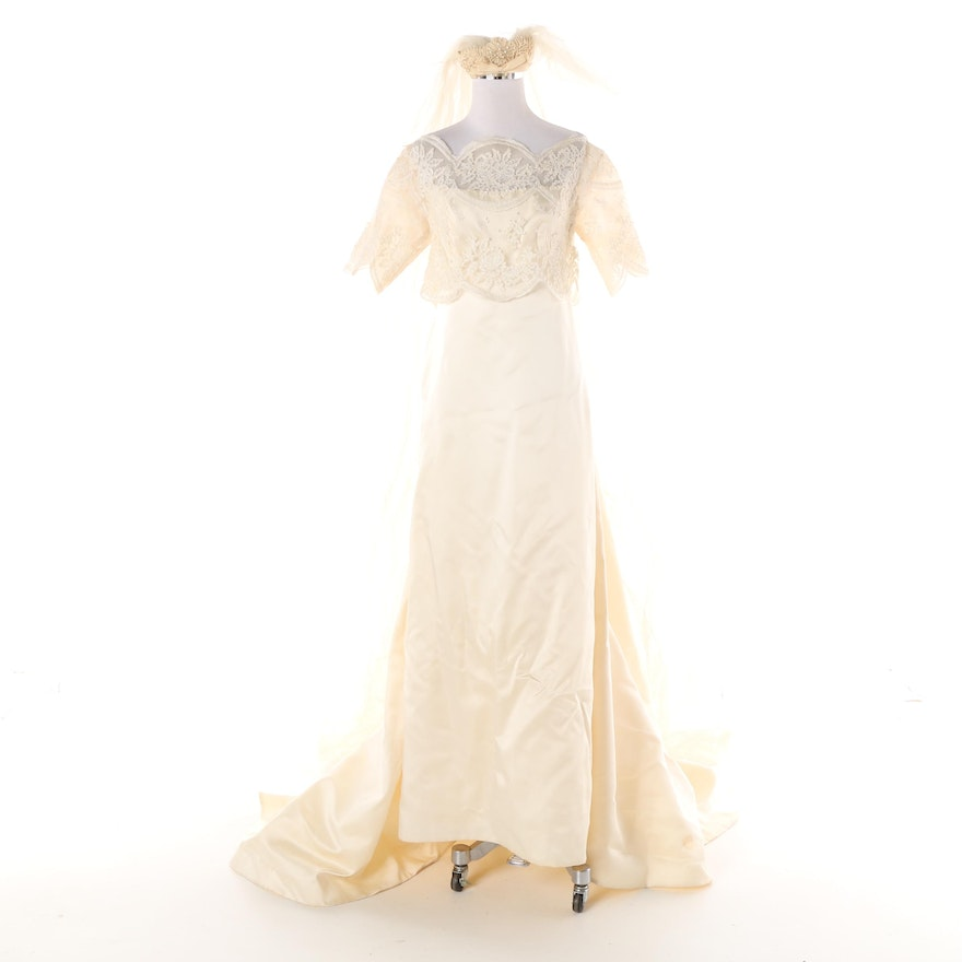 Vintage William Cahill Of Beverly Hills Wedding Gown With Cathedral