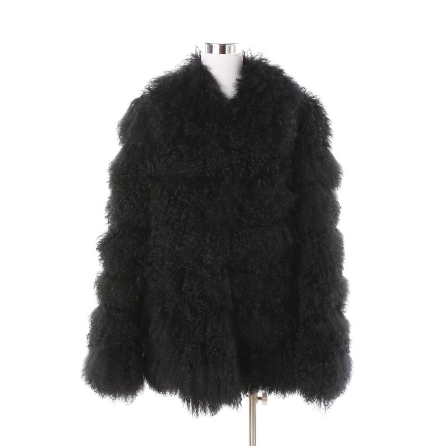 Women s Blue Duck Black Mongolian Lamb Fur Coat   EBTH 64d97b73b8