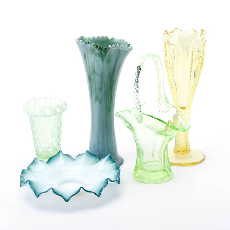 Green And Yellow Hued Depression Glass And Art Glass Vases And Bowl