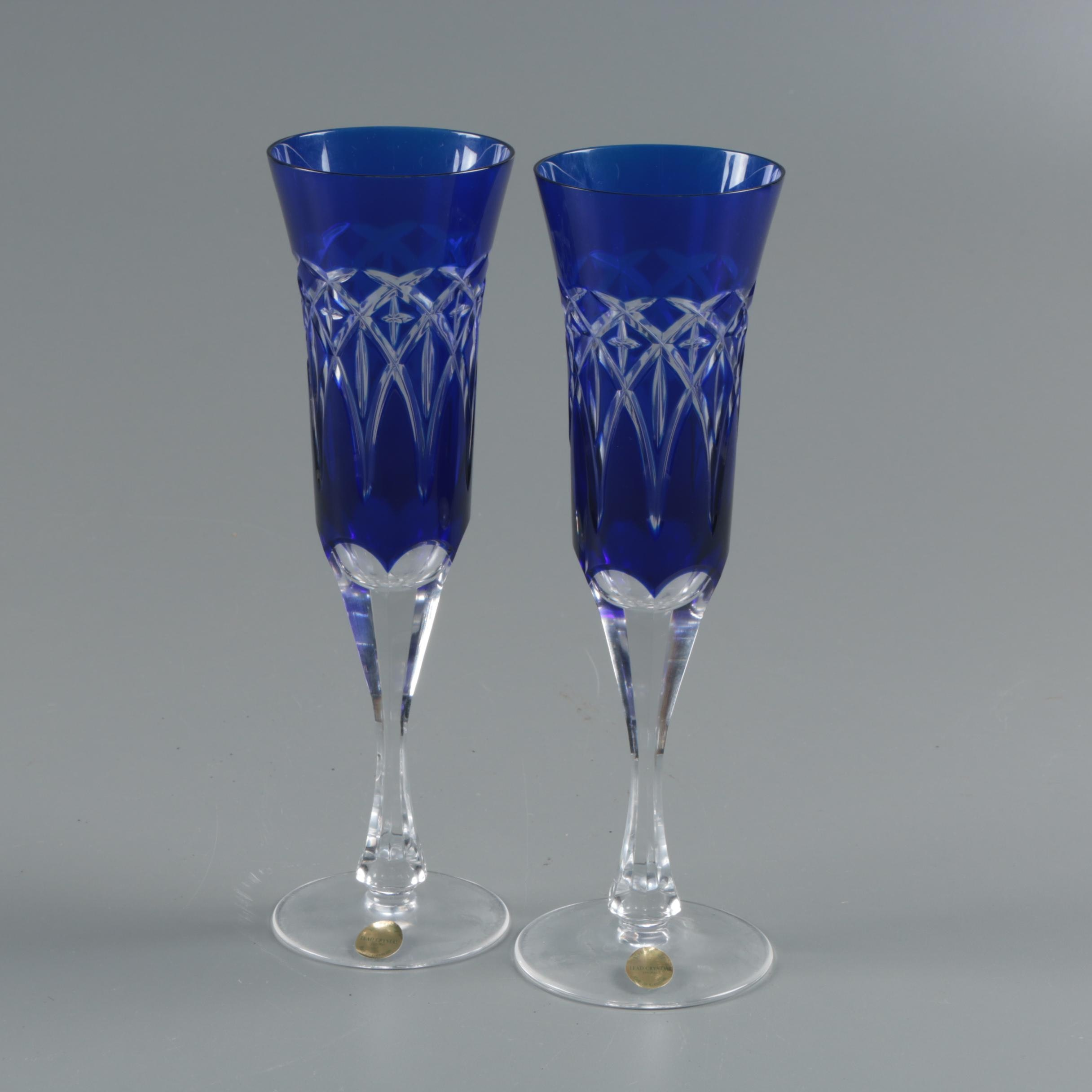 German Bleikristall Cased Cobalt Cut to Clear Crystal Champagne Flutes