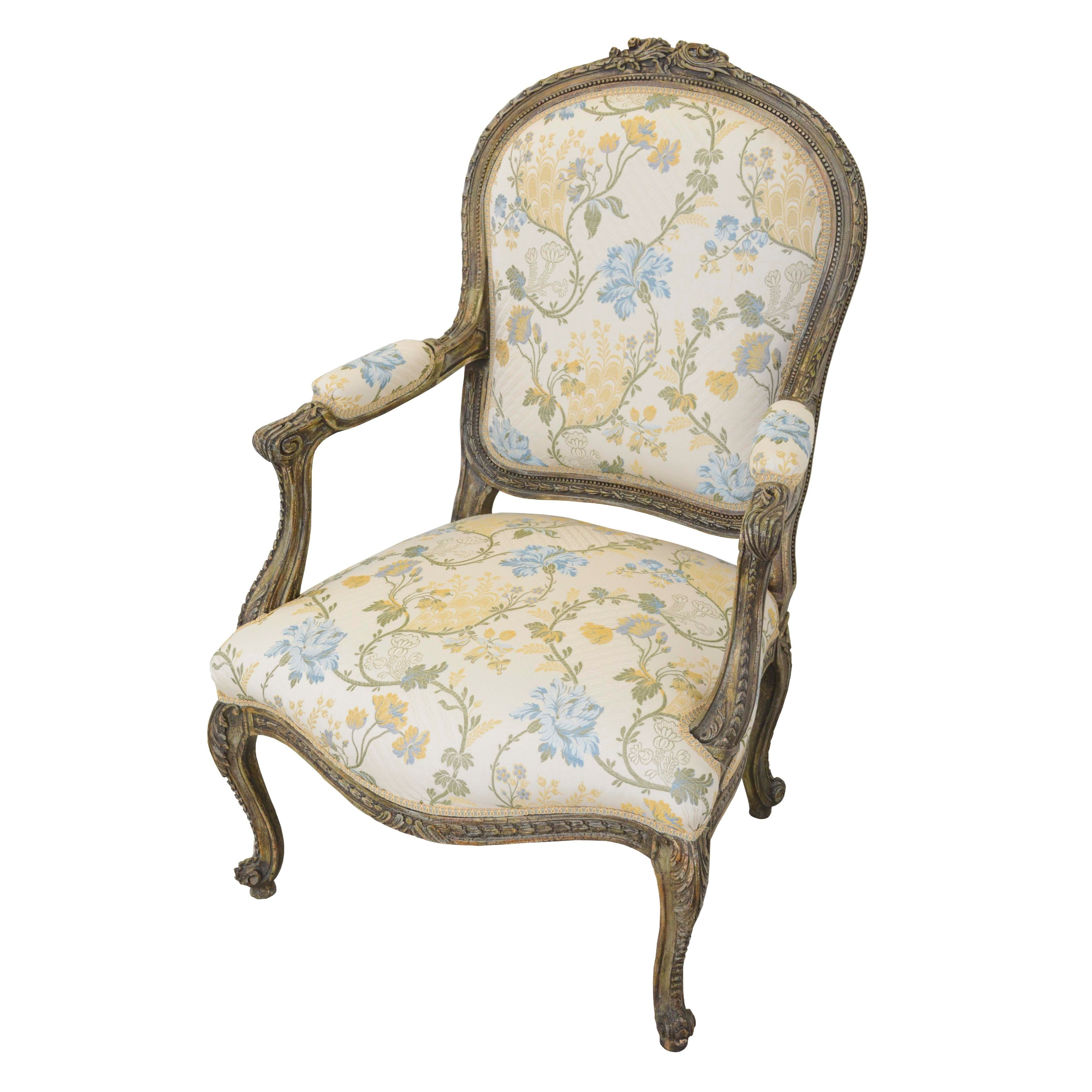 Louis XV Style Upholstered Armchair