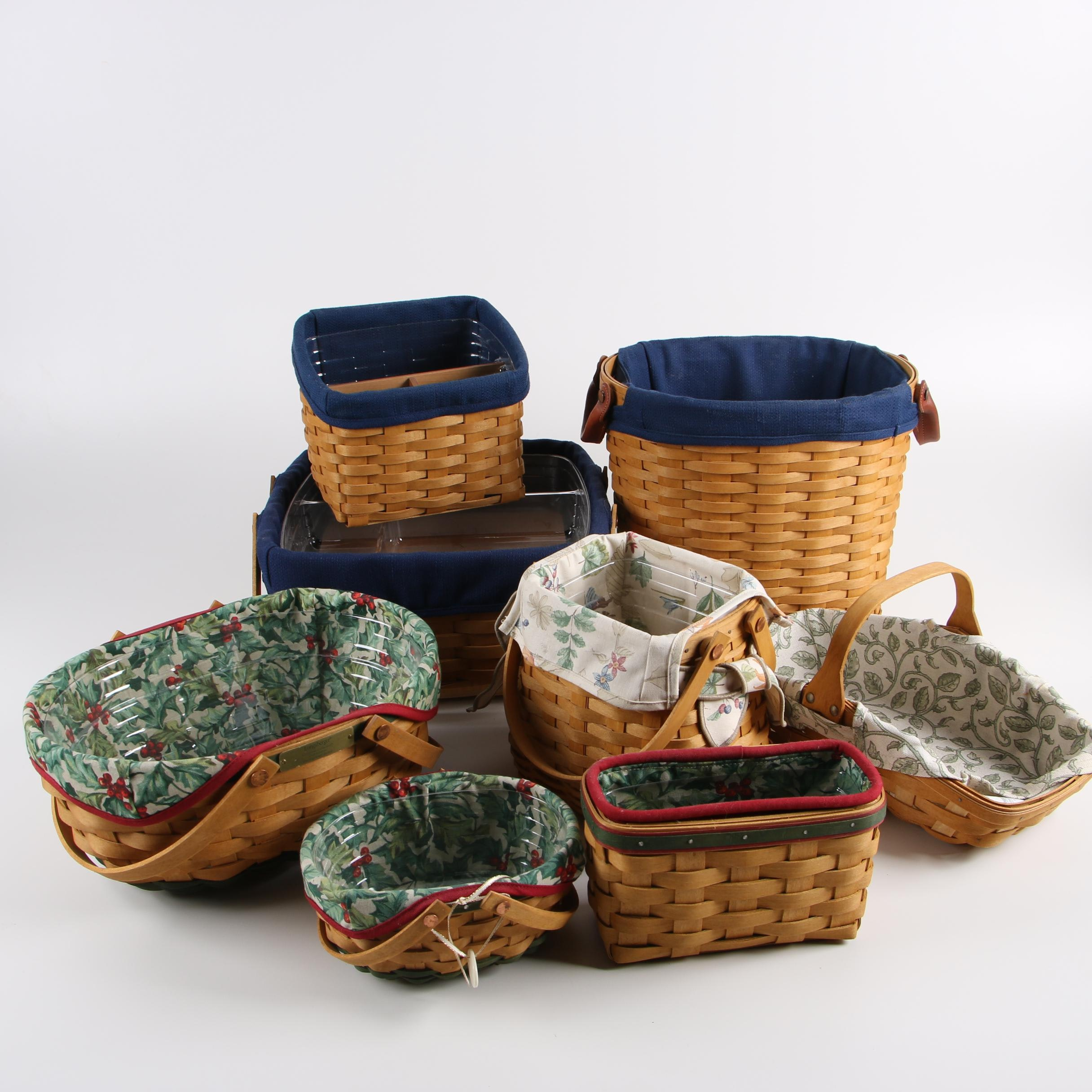 2004-2005 Longaberger Christmas Baskets with Fabric Liners