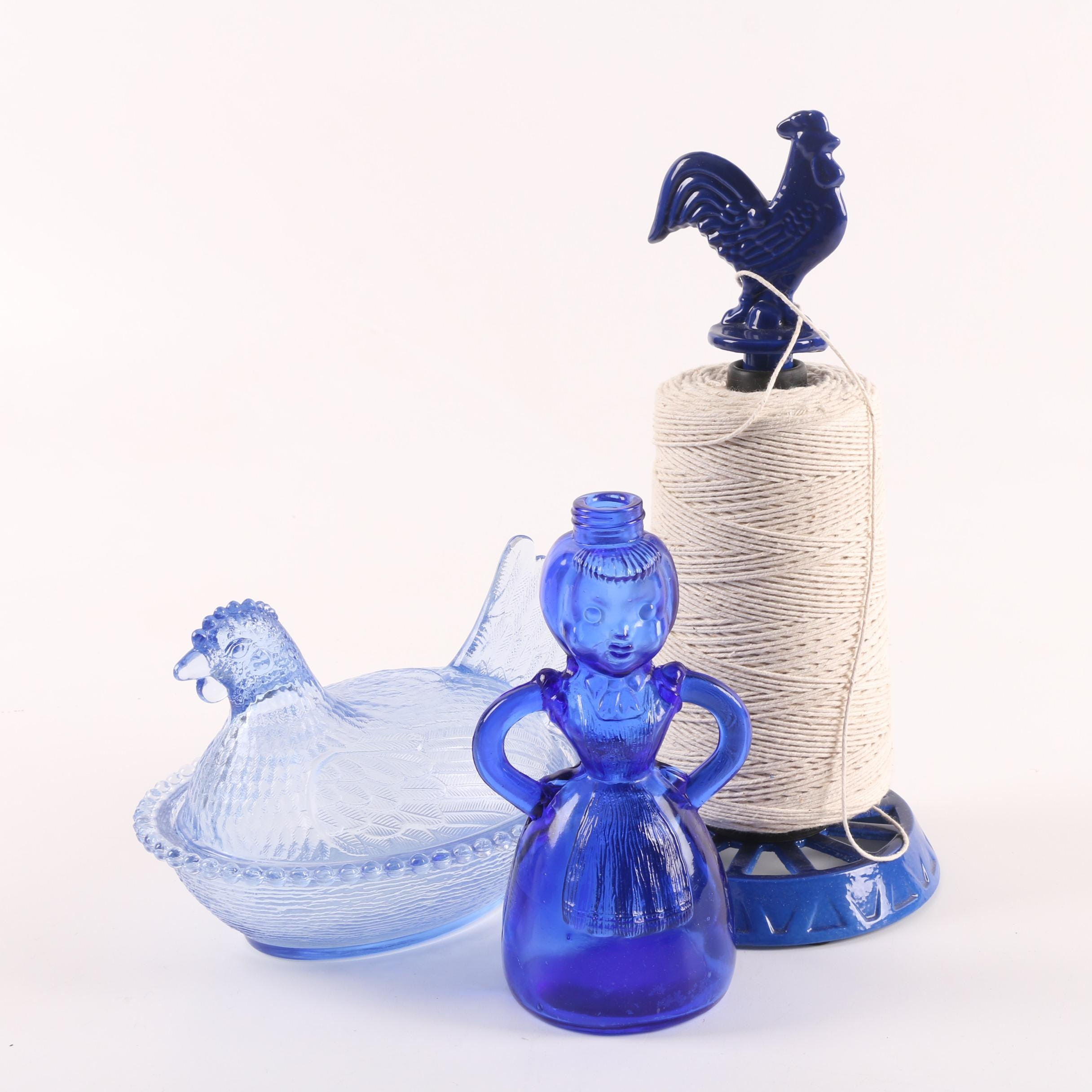 Indiana Glass Blue Hen on Nest with Merry Maid Bottle and Rooster Spool
