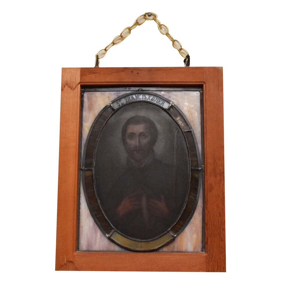 Vintage Salvaged St. Francis Xavier Slag Glass Pane