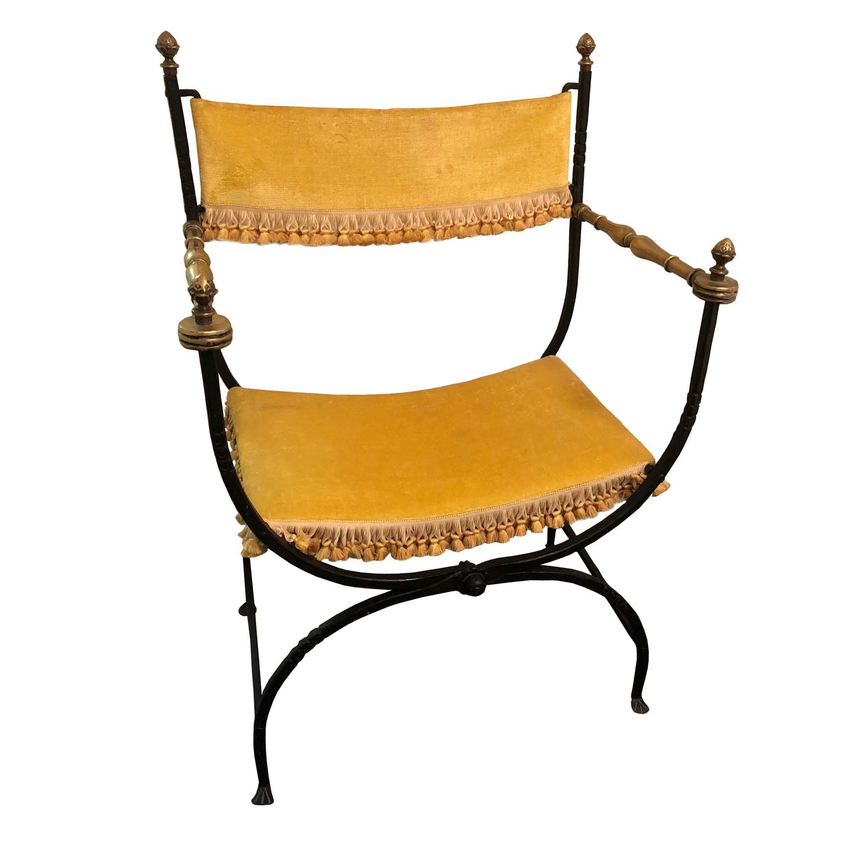 Metal Curule Armchair with Golden Velvet Upholstery