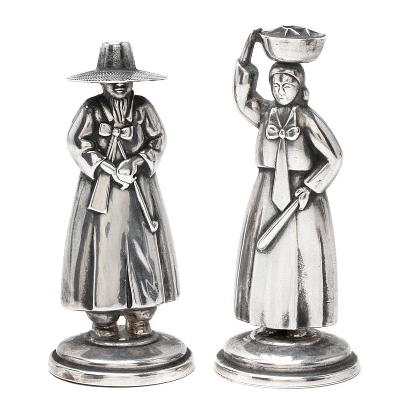 950 Sterling Silver Japanese Figural Salt and Pepper Shaker Set