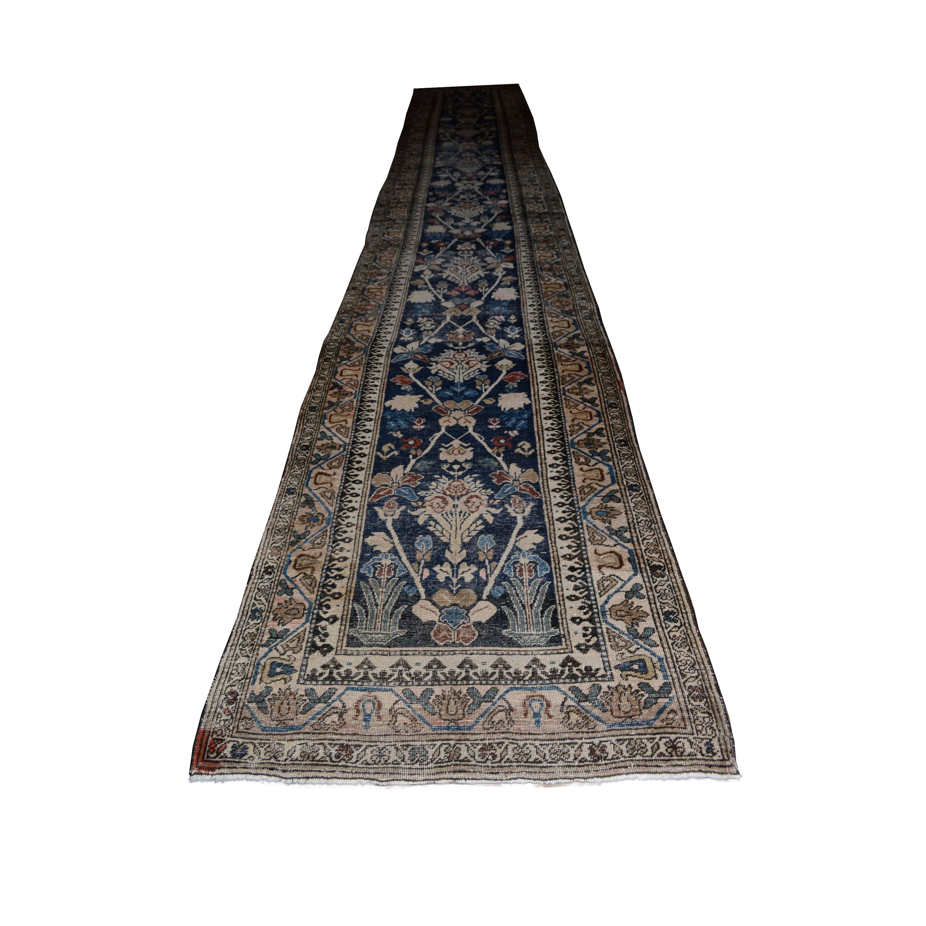 Semi-Antique Hand-Knotted Persian Ferahan Palace Sized Runner