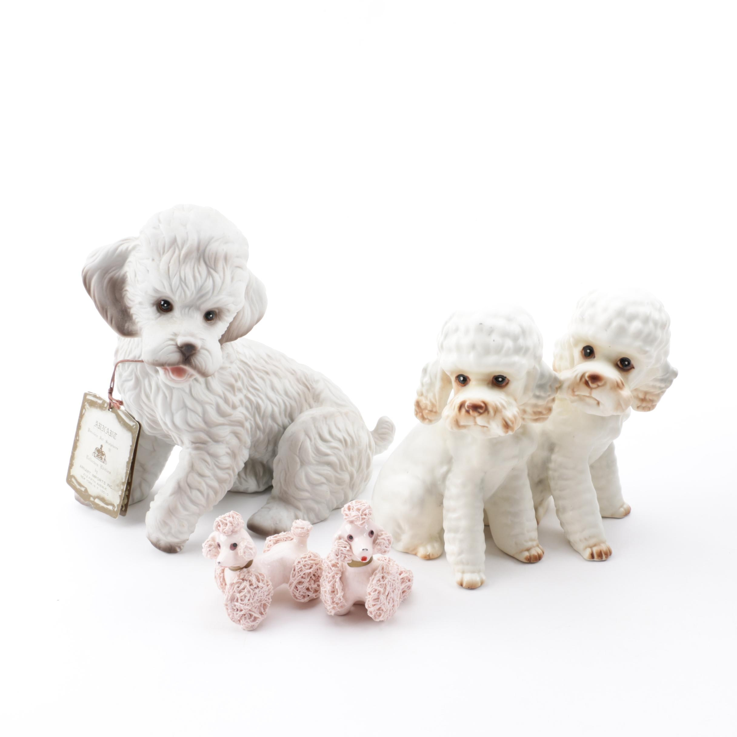 Ceramic and Porcelain Poodle Figurines featuring Arnart