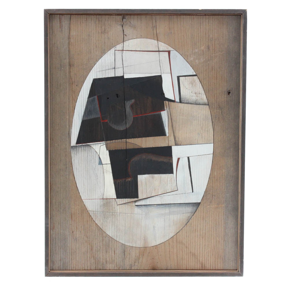 """Donald Roberts 1976 Mixed Media Painting on Wood """"Black, White, and Gris"""""""