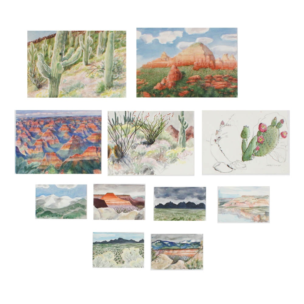 June Carver Roberts Watercolor Landscape Studies Depicting Arizona and Mexico