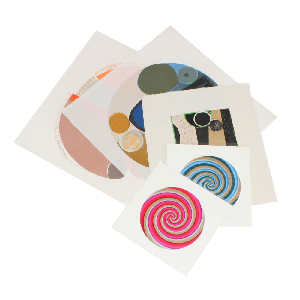 June Carver Roberts Abstract and Op Art Serigraph Prints