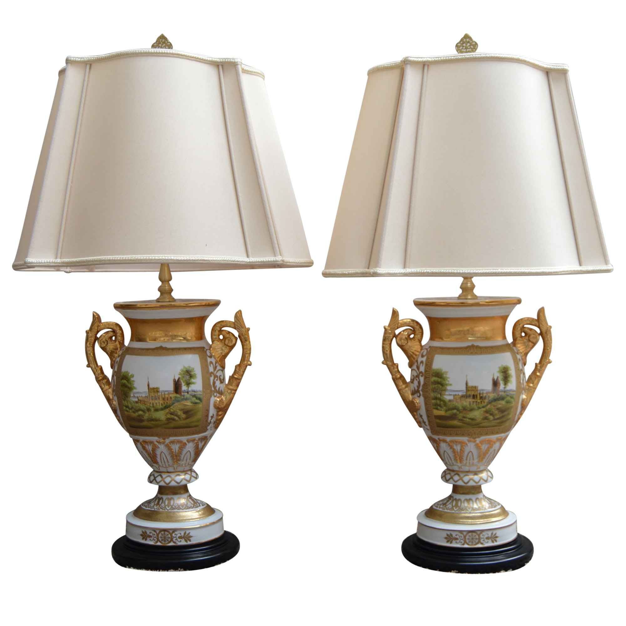 Reproduction Old Paris Porcelain Urn Form Table Lamps