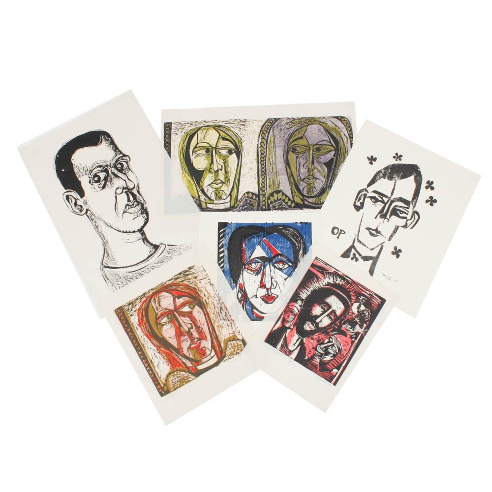 Donald Roberts Woodcut Portrait Print Archive