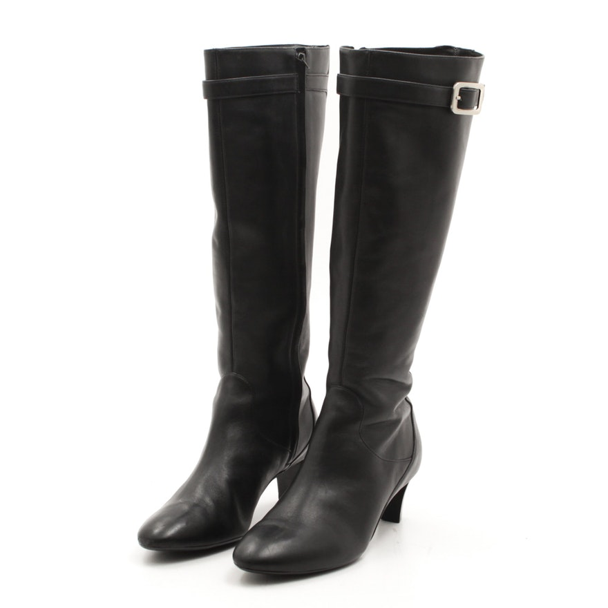 78f324c190a Cole Haan Black Leather Tall Boots   EBTH