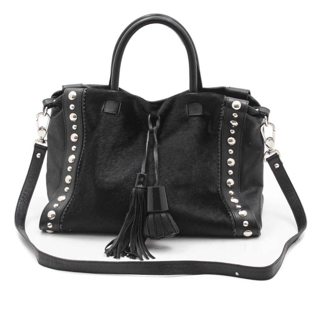 Claudia Firenze Black Leather and Cowhide Shoulder Bag