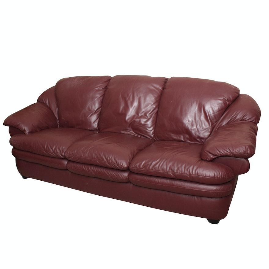 Burgundy Leather Sofa : EBTH
