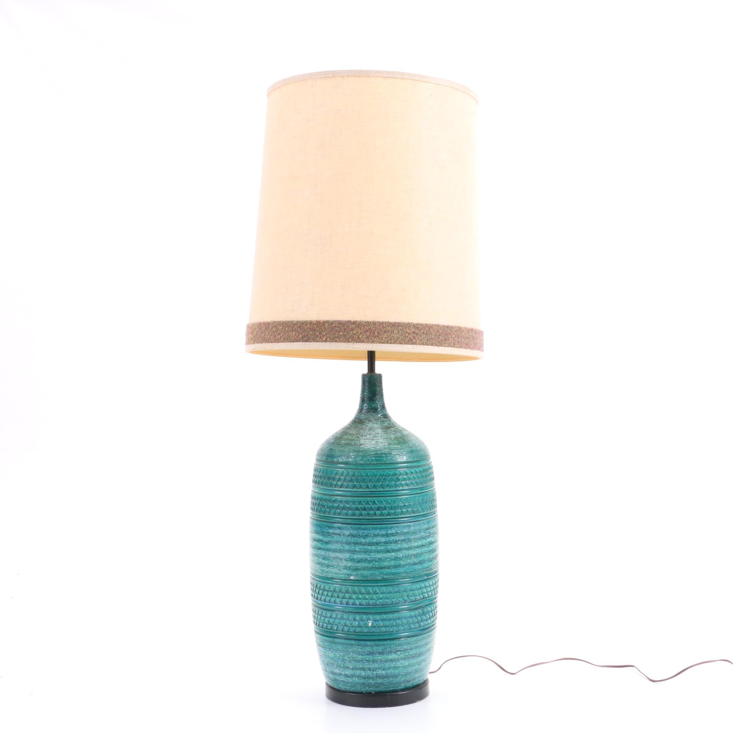 Mid Century Teal Ceramic Table Lamp After Bitossi Ebth