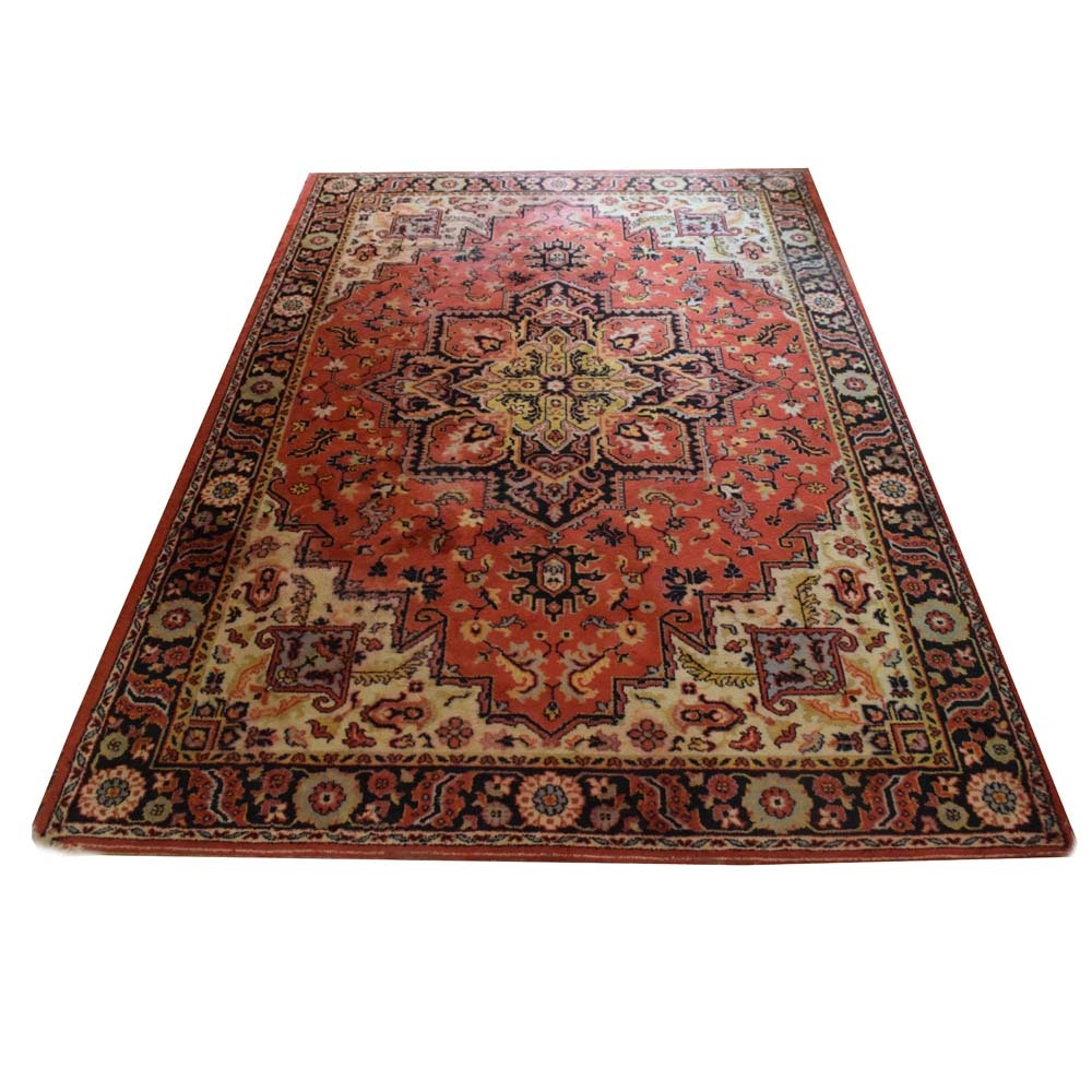 Vintage Power Loomed Heriz Serapi Style Area Rug