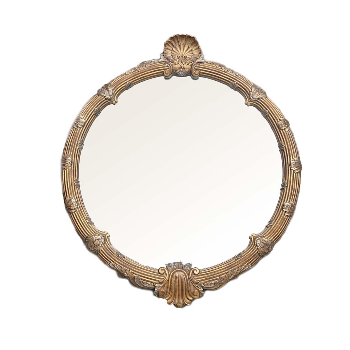 Contemporary Neoclassical Style Round Wall Mirror by Carolina Mirror Company