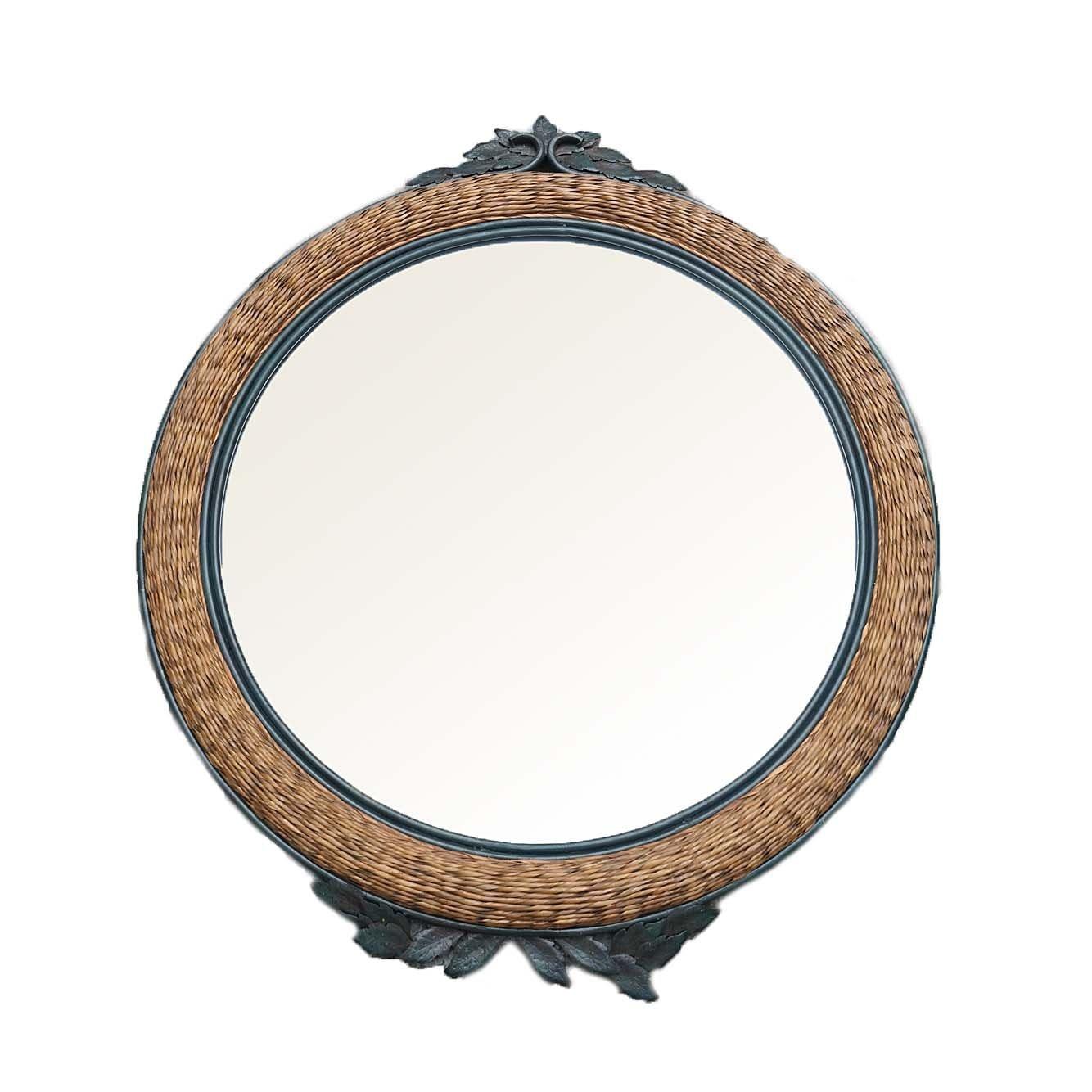 Round Metal Framed Twisted Rattan Wall Mirror with Foliate Motifs