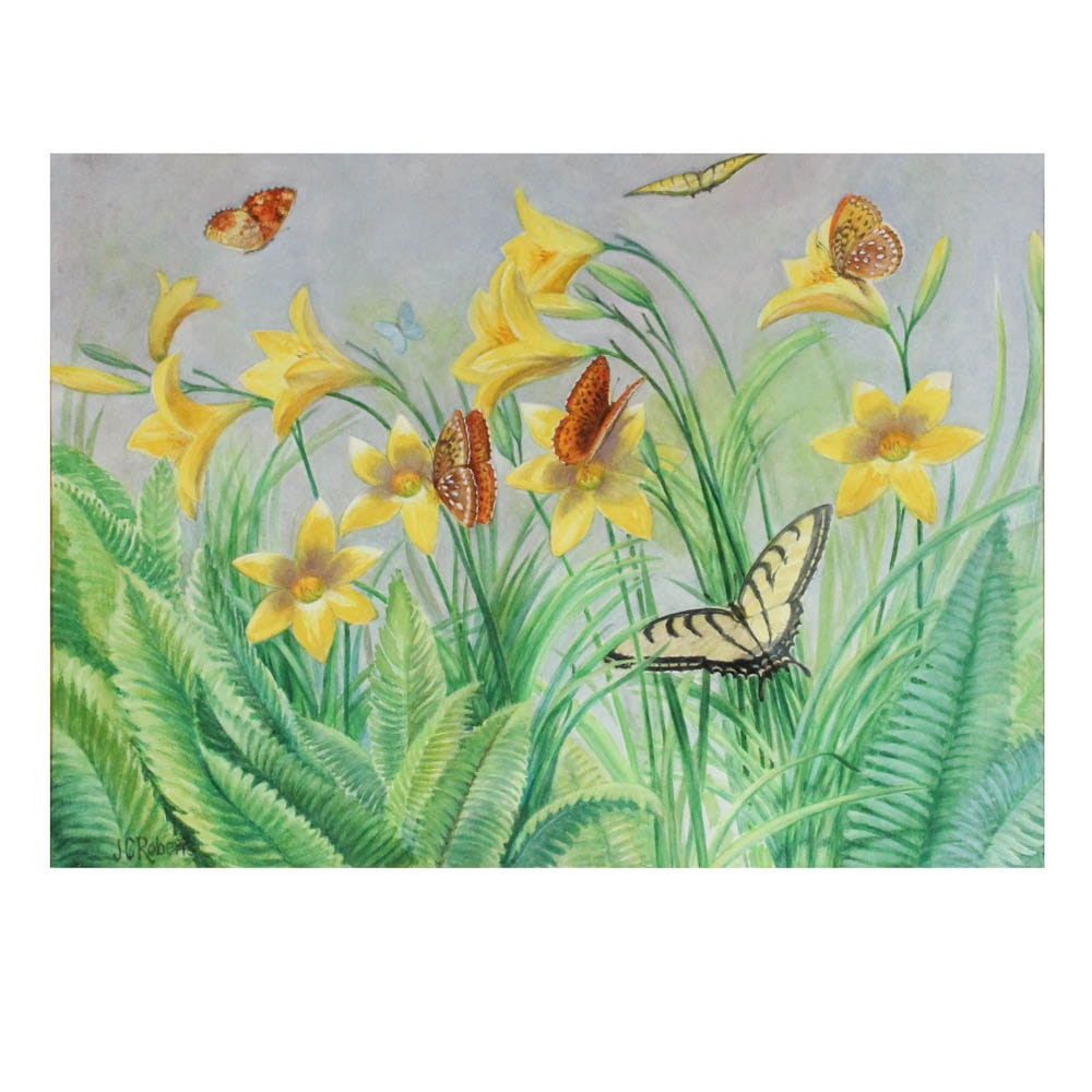 June Carver Roberts Watercolor Butterflies and Flower Landscape on Paper
