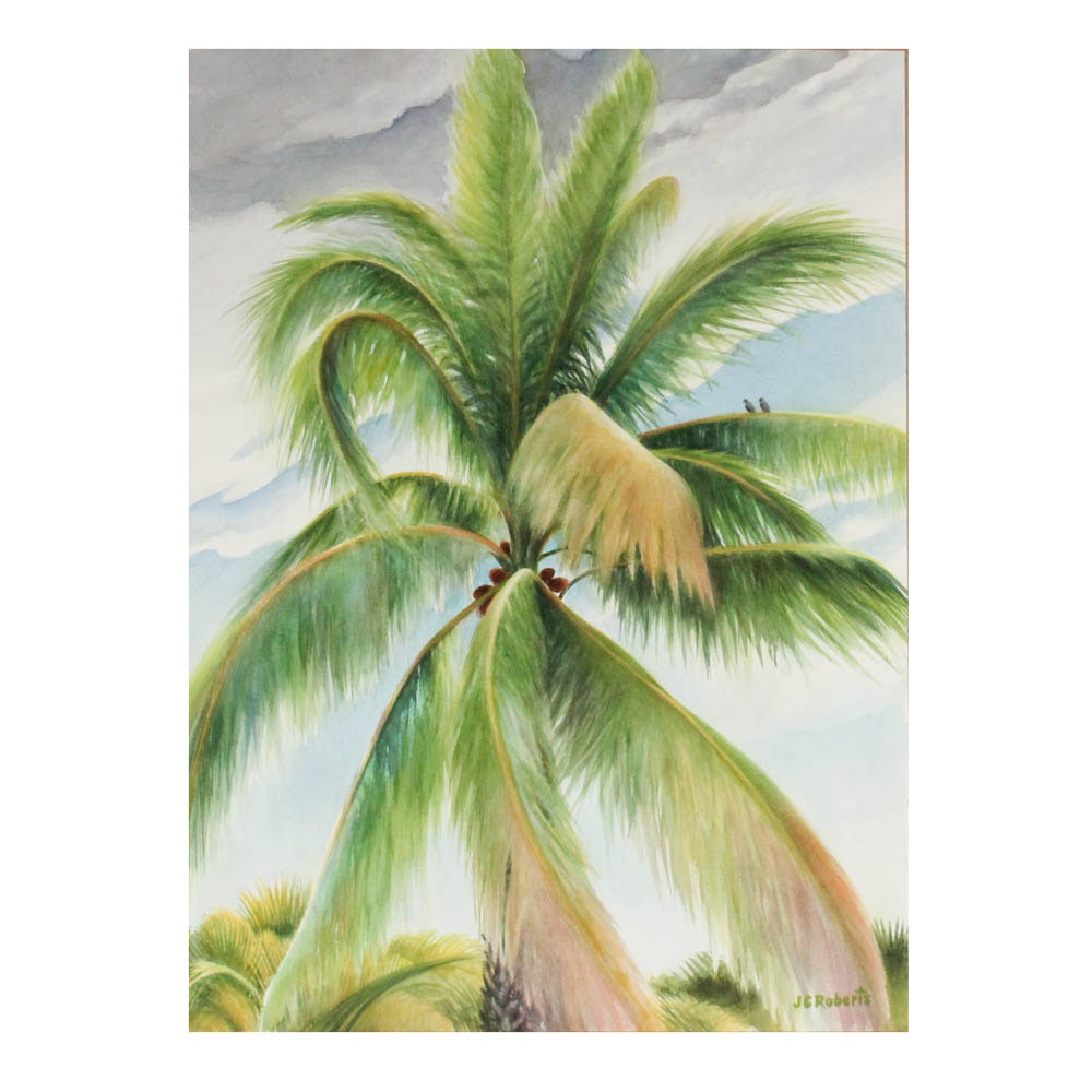 June Carver Roberts Watercolor Painting on Paper Depicting Palm Tree