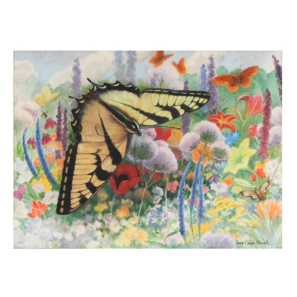 June Carver Roberts Pastel and Watercolor Butterfly Landscape on Paper