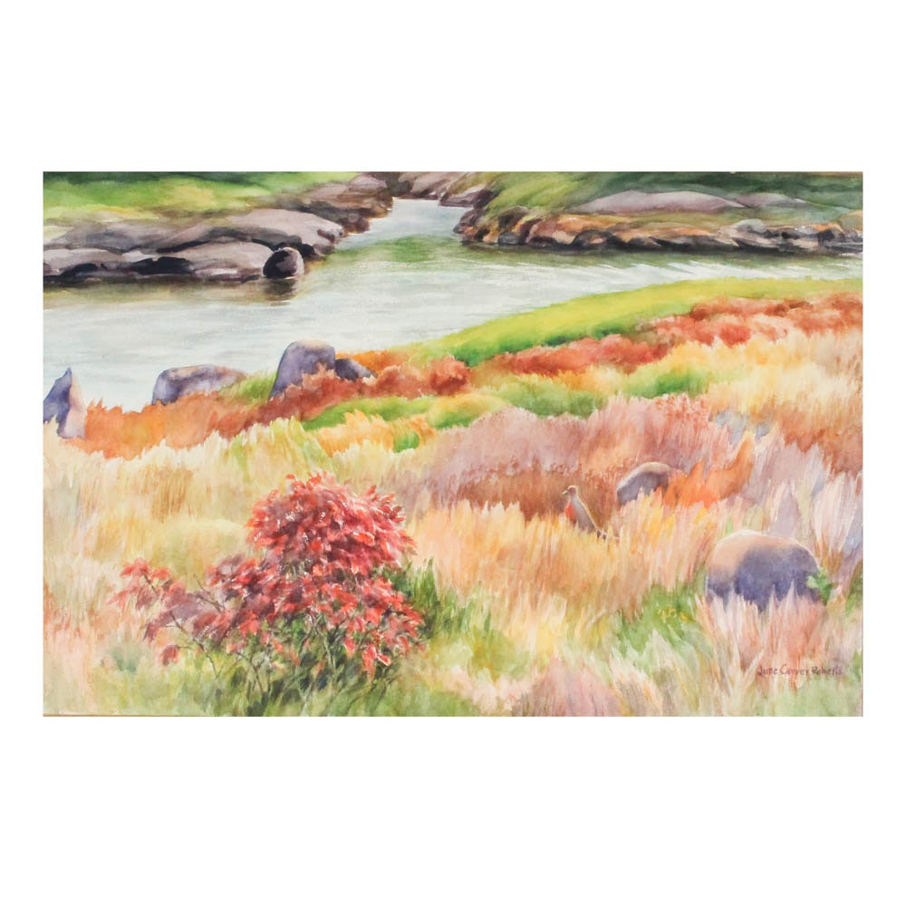 June Carver Roberts Autumnal Watercolor Landscape Painting on Paper