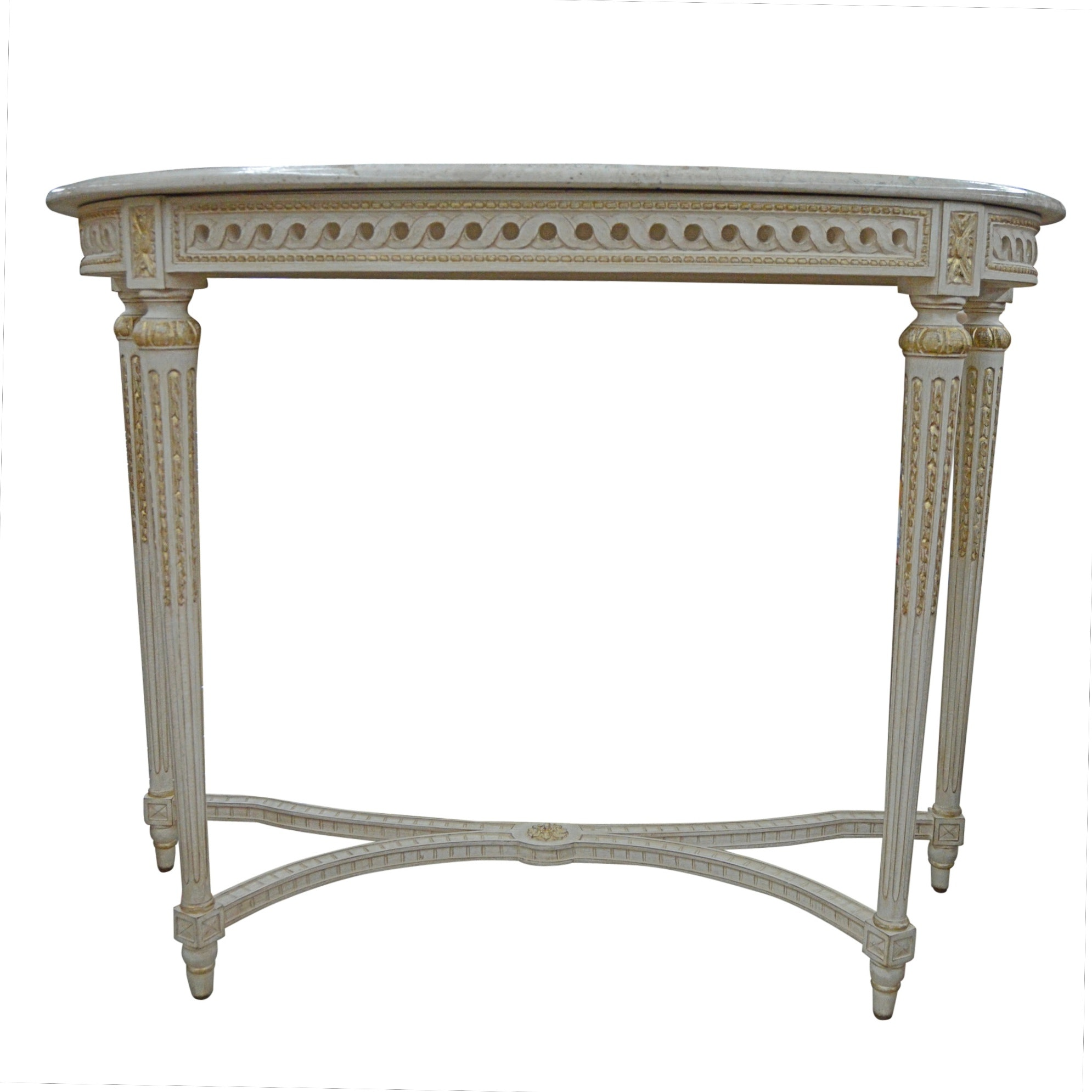 Neoclassical Style Demilune Console Table with Marble Top from Louis J. Soloman