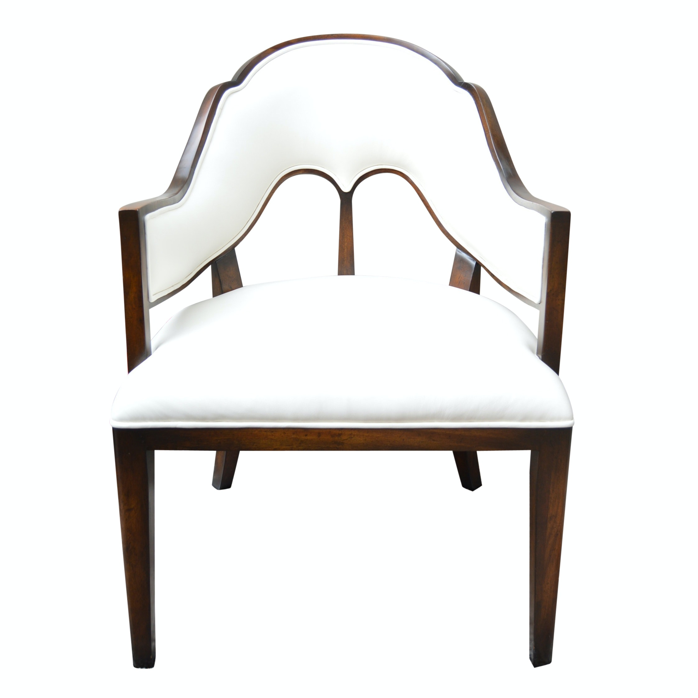 Art Deco Style White Leather and Mahogany Side Chair from John-Richard