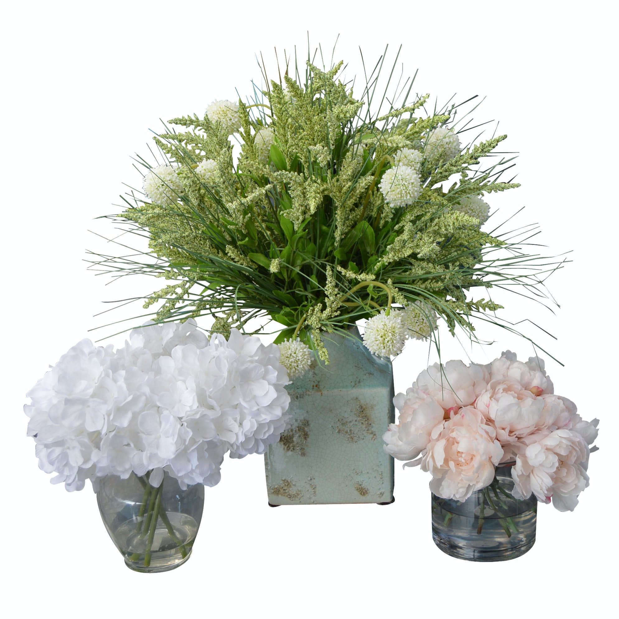 Three Silk Floral Arrangements