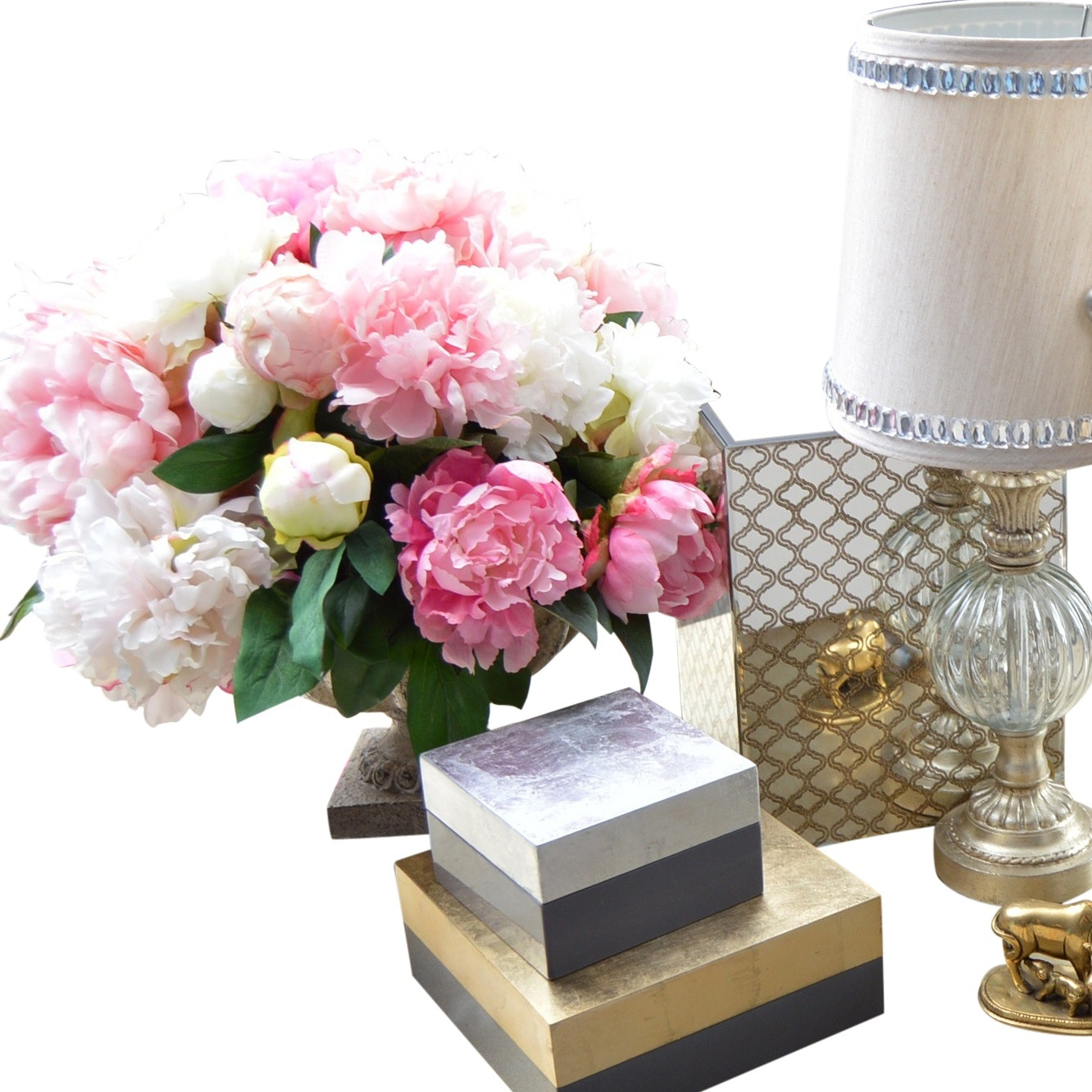 Decor with Lamp, Boxes, Peony Arrangment