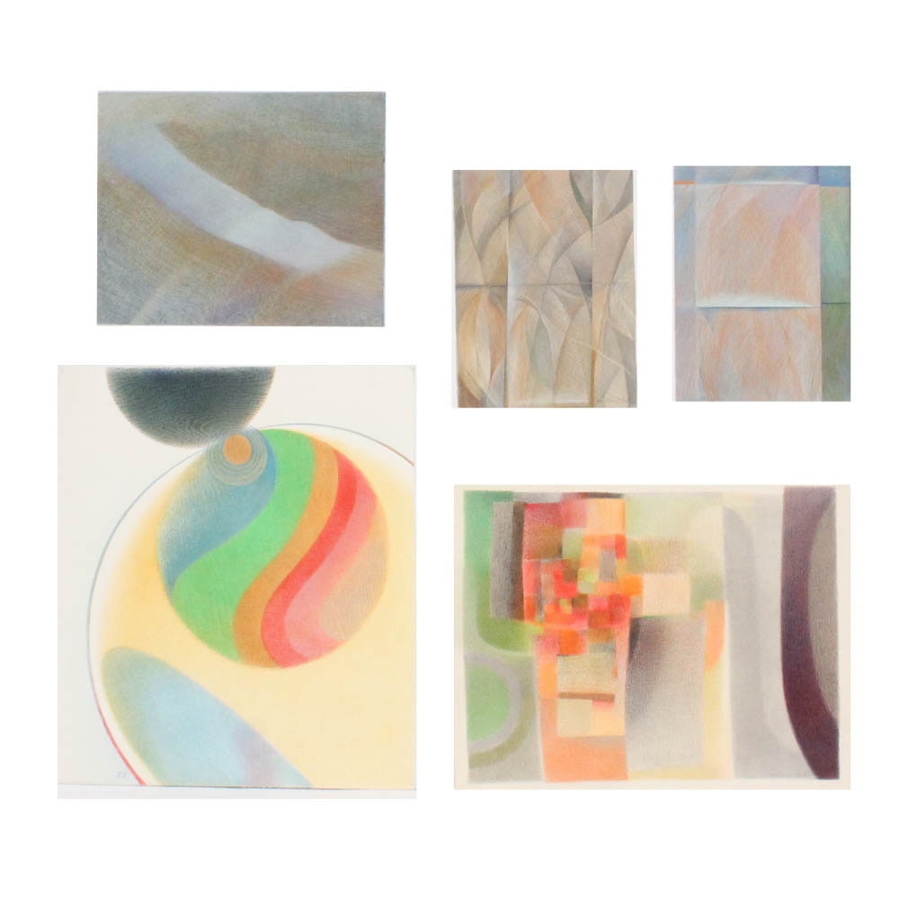June Carver Roberts Abstract Drawings on Paper