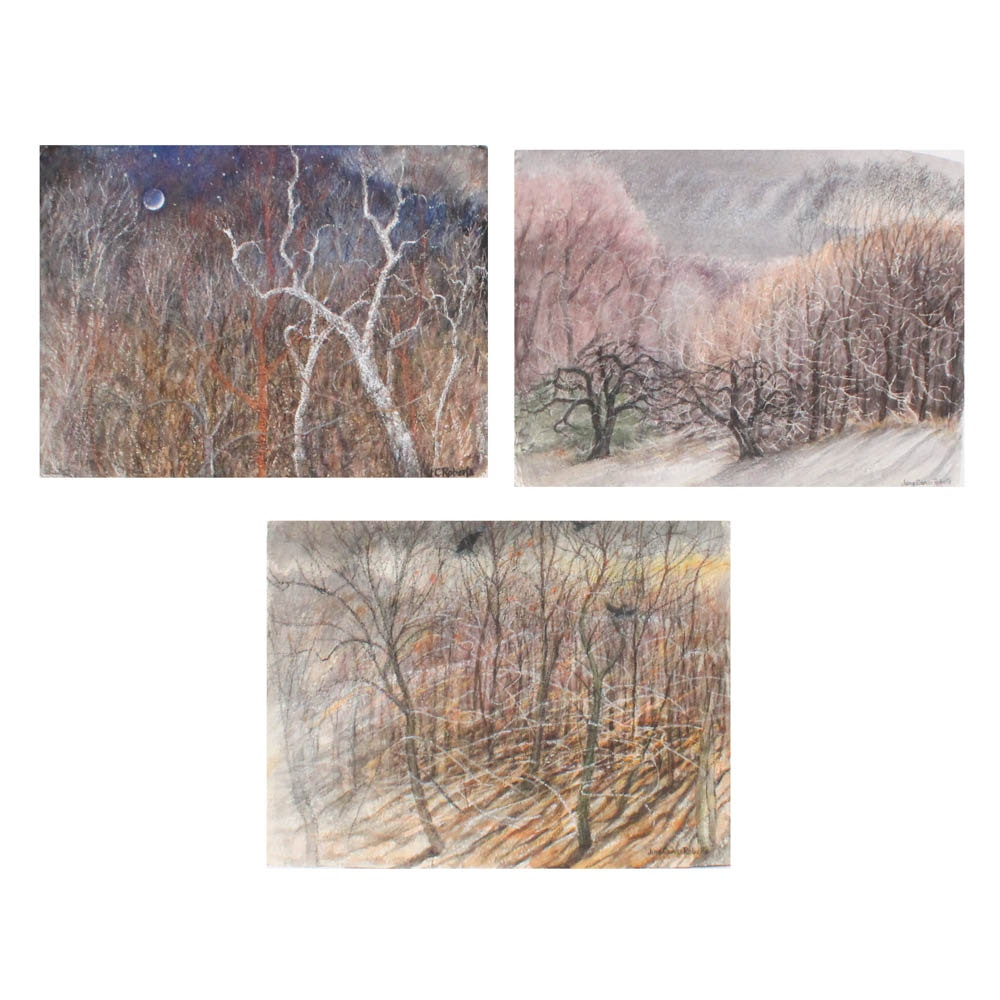 June Carver Roberts Pastel and Watercolor Landscape Works on Paper