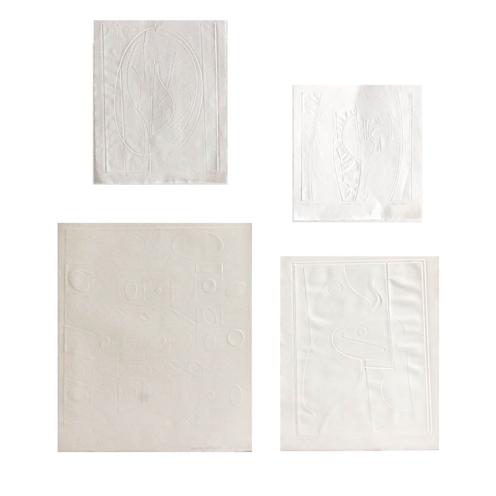 "Donald Roberts Embossed Prints on Paper ""White Relief"""
