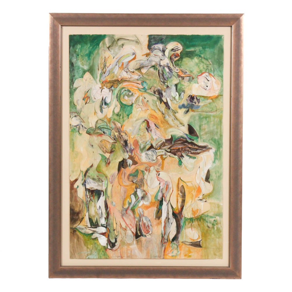 """Donald Roberts 1990 Mixed Media Painting """"Island Forest Project - Lepida"""""""