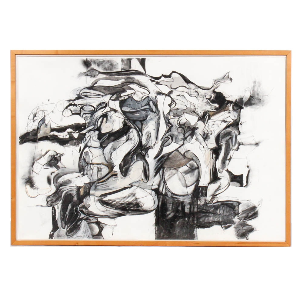 "Donald Roberts 1986 Mixed Media Drawing ""Solstice Garden II"""