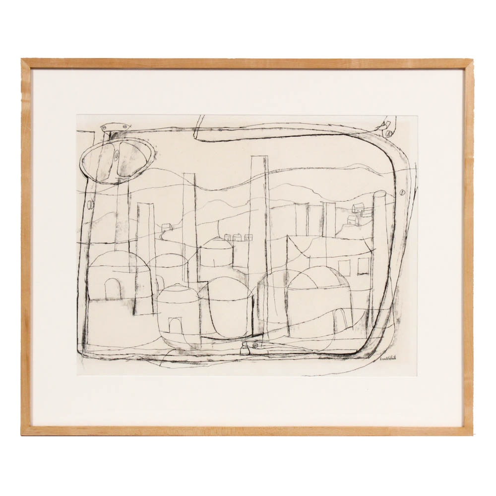 "Donald Roberts 1954 Charcoal Drawing on Paper ""Haydenville Kilns"""