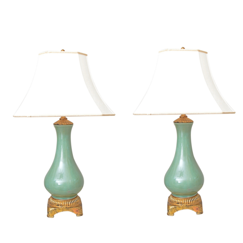 Green Porcelain Urn Form Lamps