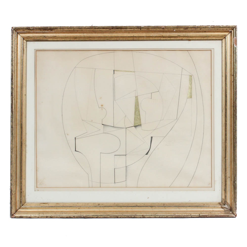 Donald Roberts 1961 Abstract Ink Drawing on Paper