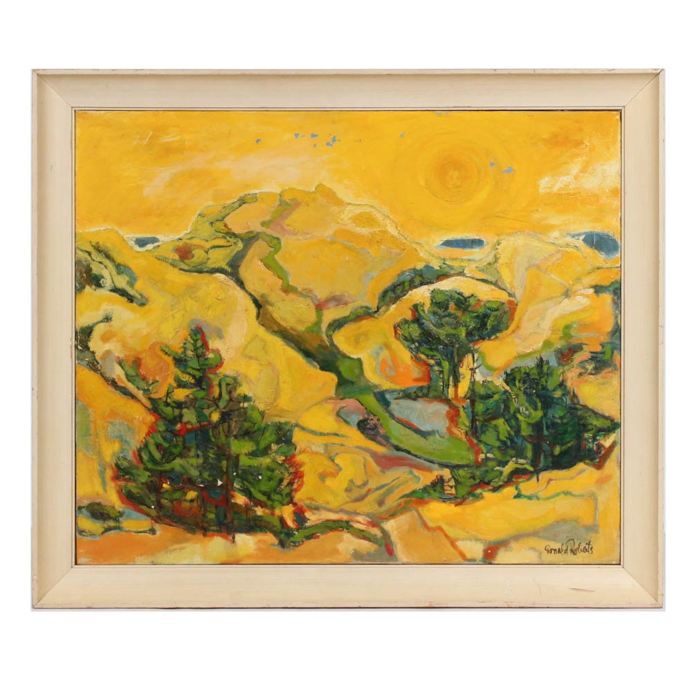 "Donald Roberts 1955 Oil on Canvas ""Yellow Dunes"""