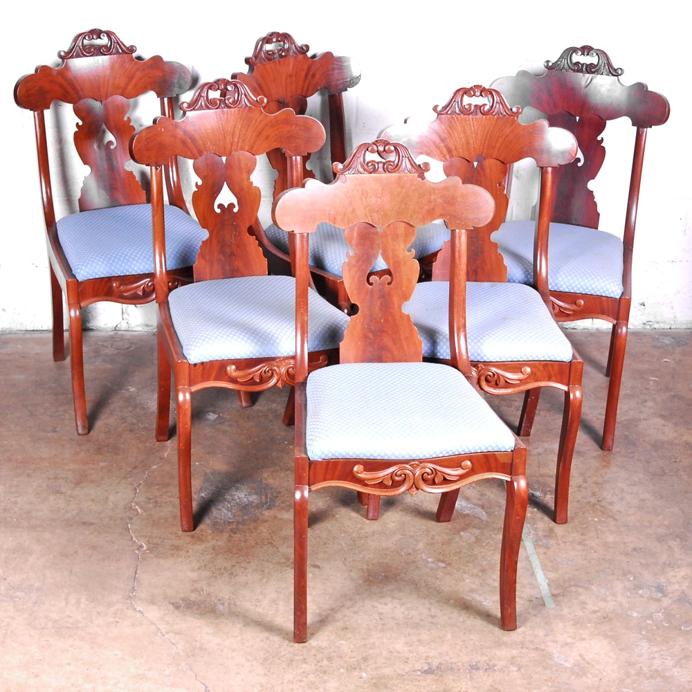 Set of Six Victorian Mahogany Side Chairs