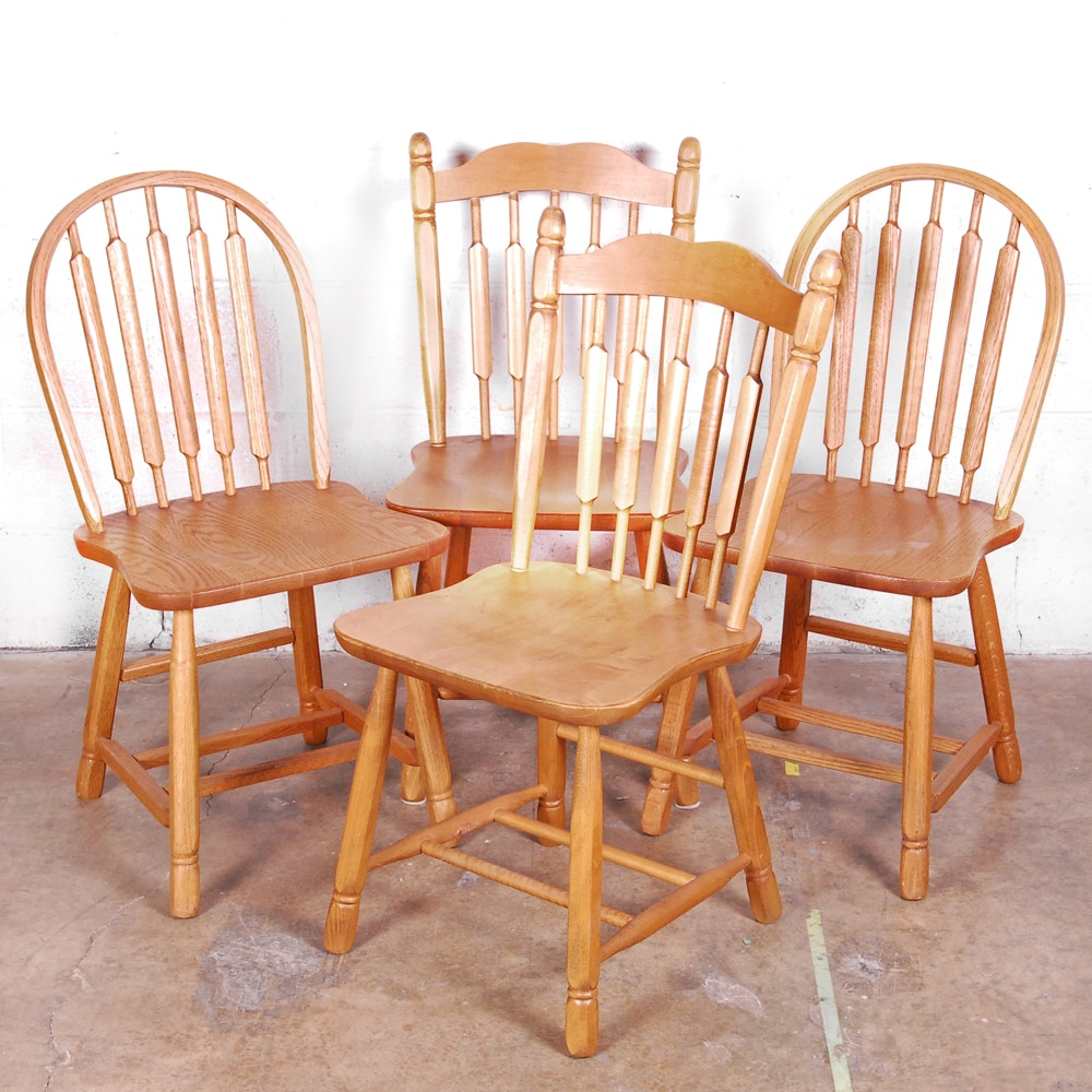Oak Rounded Slat Windsor Style Chairs