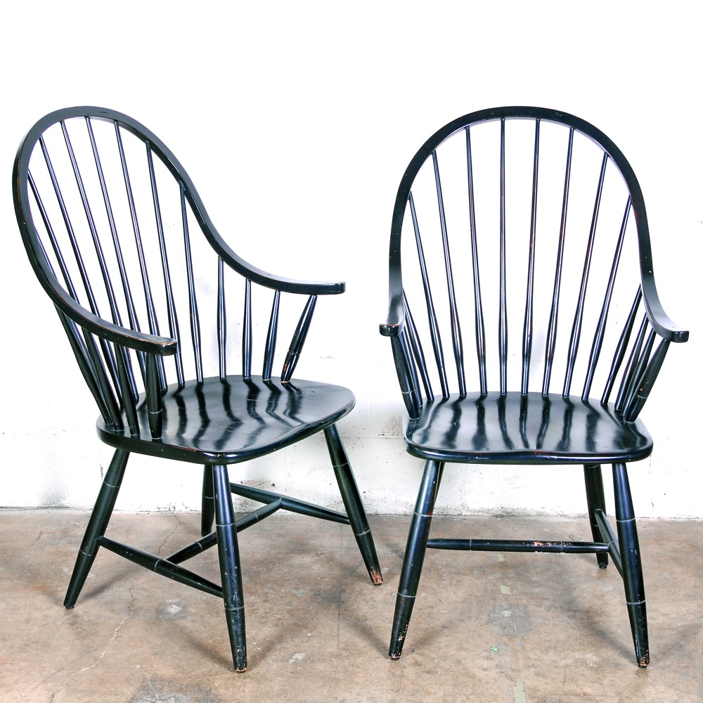 Ethan Allen Windsor Style Painted Armchairs