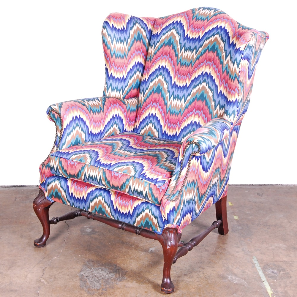 Bright Upholstered Wingback Armchair