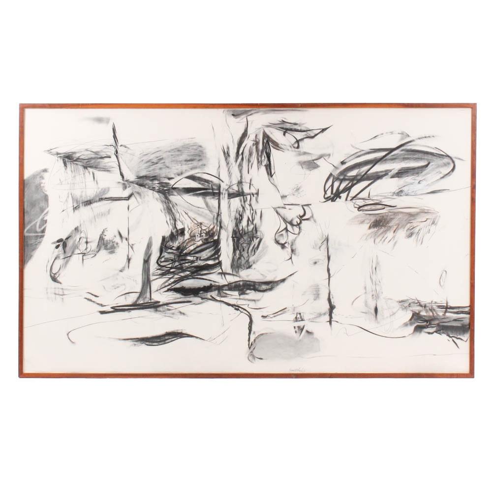 "Donald Roberts 1985 Mixed Media Painting ""Island Sky Project II"""