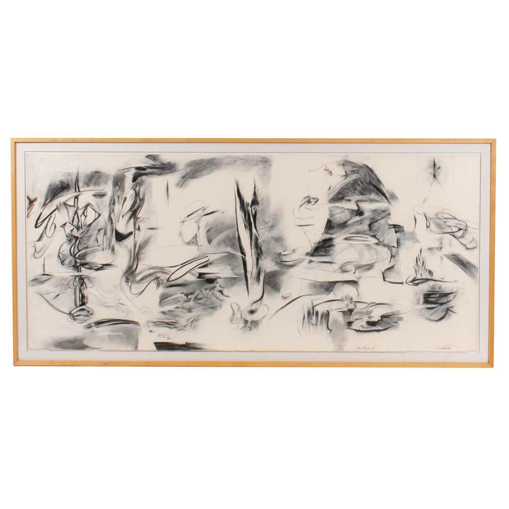"Donald Roberts 1985 Mixed Media Painting ""Island Sky Project"""