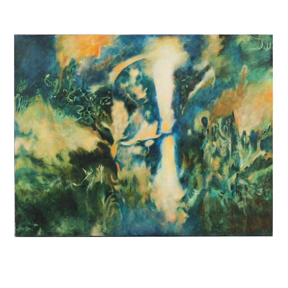 "Donald Roberts 2003 Gouache Painting on Canvas ""Realm of Oberon"""